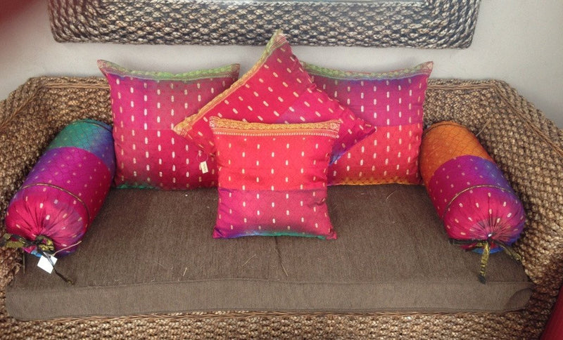 Balinese Sari Cushion Cover Set & Bolsters suitable for Daybeds