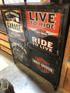Metal Harley Print Four Door Cabinet CS364