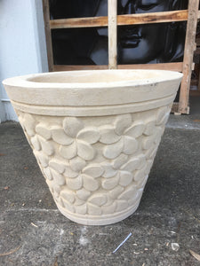 Concrete Garden Pot with Frangipani Motifs