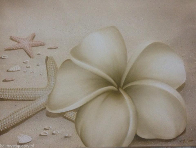 Balinese Beach Frangipani Canvas Painting