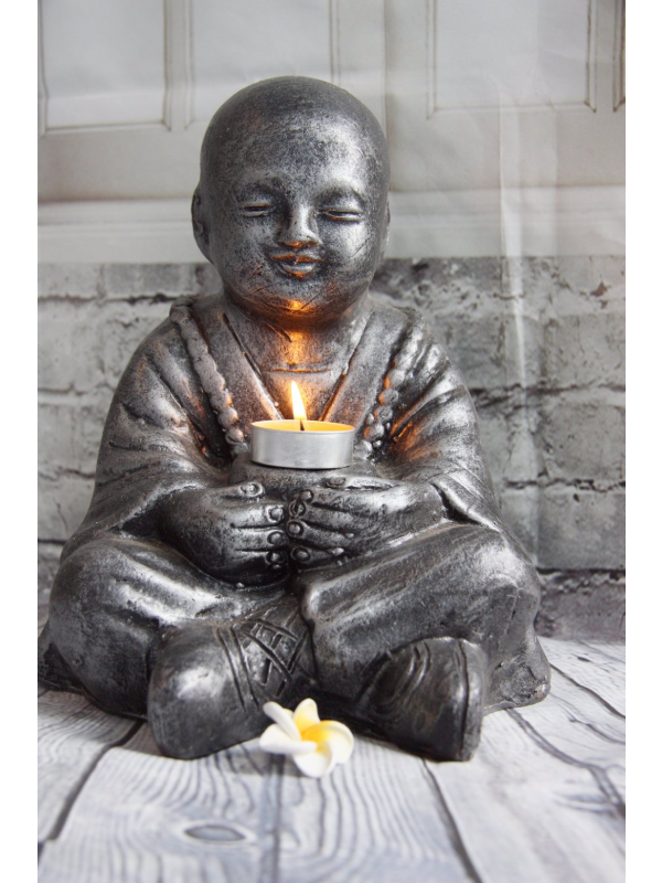 Silver Balinese Monk Candle Holder