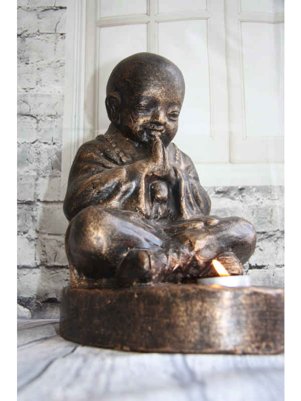 Terracotta Praying Monk Candle Holder