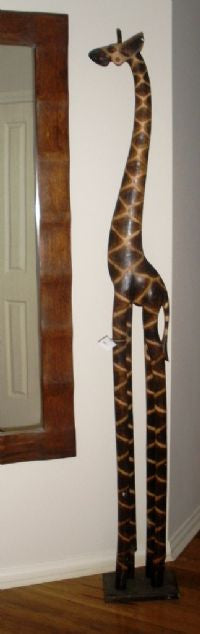 Balinese Hand Carved Timber Wooden Giraffe Statue
