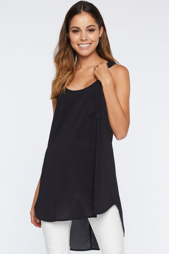 Long Pocket Tank - Black