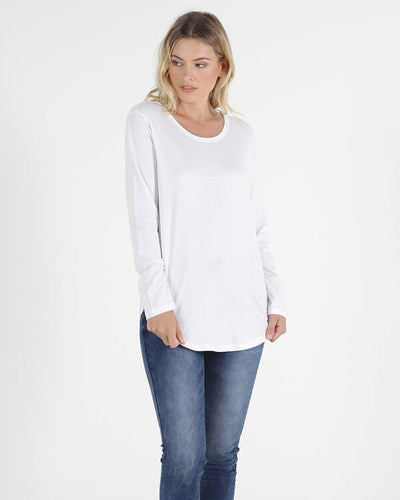 Megan Long Sleeve Top - White