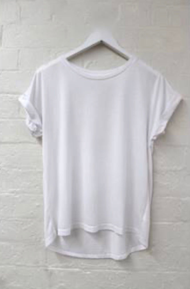 White Roll Sleeve Tee
