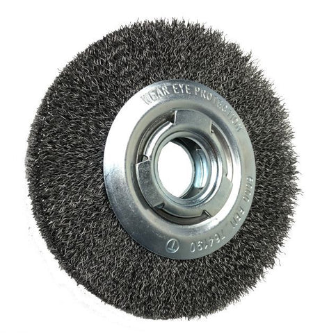 WHEEL BRUSHES WITH ARBOR HOLE RBU - CRIMPED STEEL WIRE - SUITS BENCH GRINDERS GENERAL PURPOSE