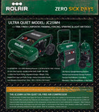 Rolair JC25WH 2HP ultra quiet oil free air compressor - free shipping