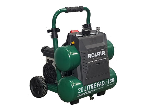 ROLAIR JC20WH AIR COMPRESSOR ULTRA QUIET OIL FREE 2HP TWIN TANK