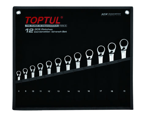 Toptul Reversible Ratchet Combination Wrench Set 12pcs