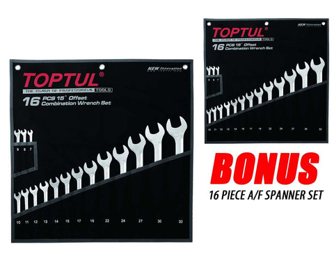 Toptul Hi-Performance Combination 15° Wrench Set 16pcs BONUS PACK