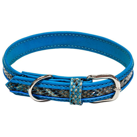 Blue Faux Snakeskin Collar - Vegan Leather