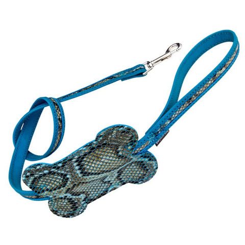 Blue Faux Snakeskin Leash with Waste Bag Holder - Vegan Leather