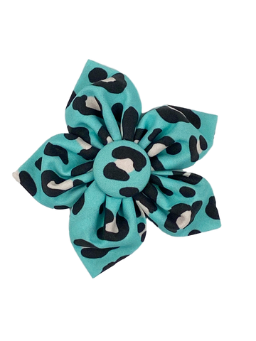 Turquoise Leopard Flower Bow