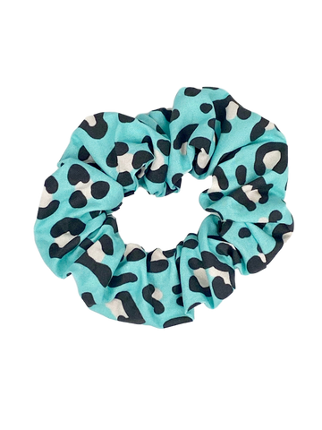 Turquoise Leopard Hair Scrunchie
