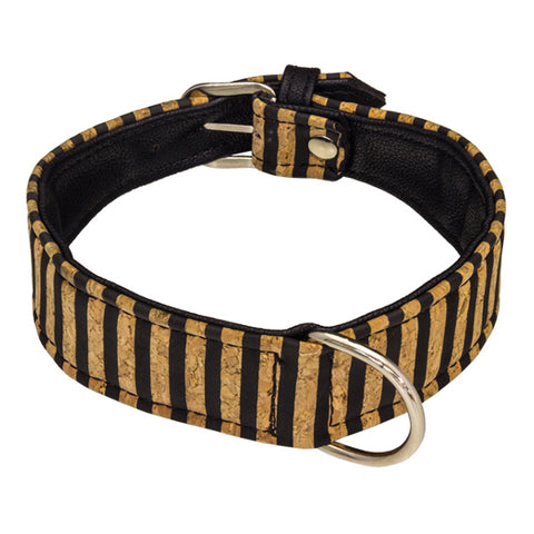 Cork Striped Collar - Italian Wine Cork with Vegan Leather