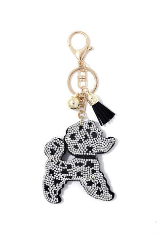 Poodle Crystal Bling Key Chain