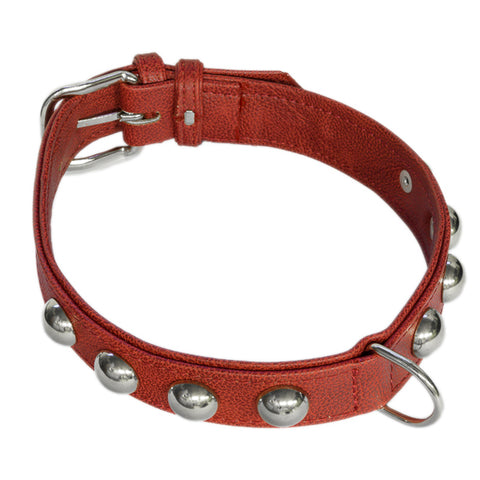 Newport Red Collar - Italian Vegan Leather