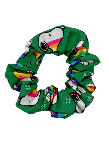 Irish Snoopy Rainbow Plaid Hair Scrunchie