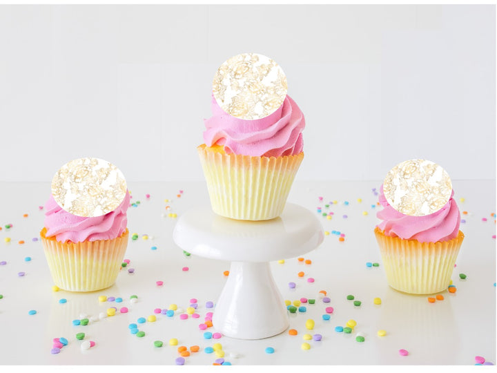 Gold Peony Edible Cupcake Images