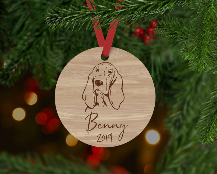 Basset Hound Dog Ornament - Aston Blue