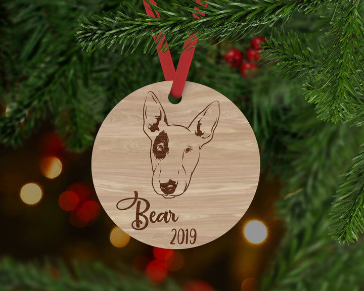 Bull Terrier Dog Ornament - Aston Blue