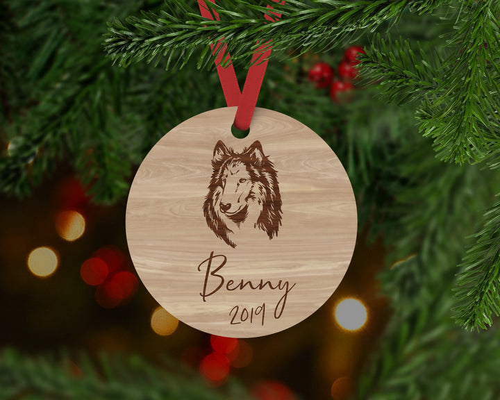 Border Collie Dog Ornament - Aston Blue