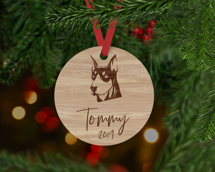 Doberman Dog Ornament - Aston Blue