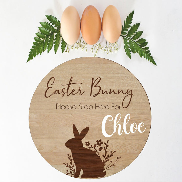 Easter Bunny Please Stop Here Personalised Sign - Aston Blue