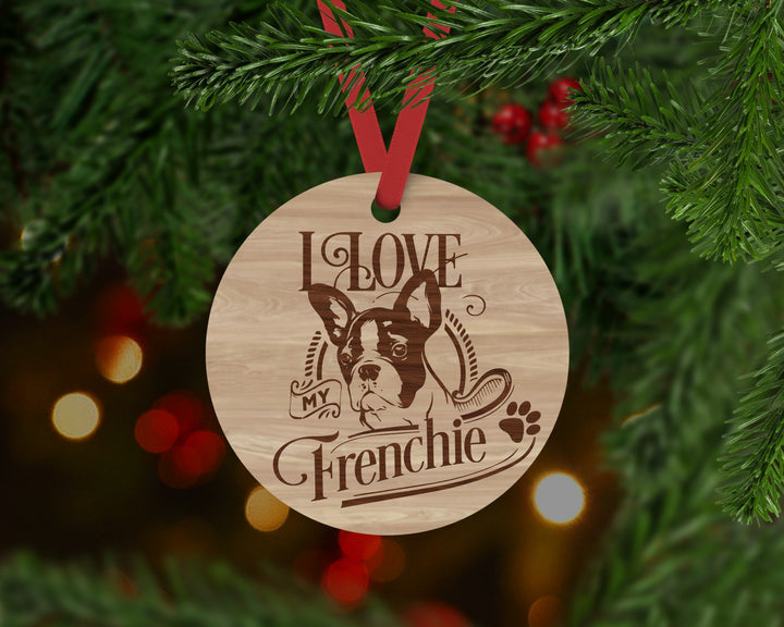 Frenchie Dog Ornament - Aston Blue