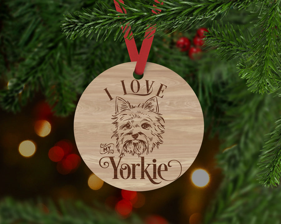 Yorkie Dog Ornament - Aston Blue