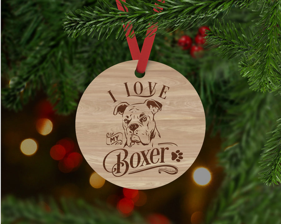 Boxer Dog Ornament - Aston Blue