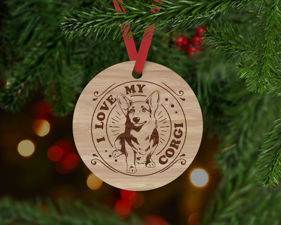 Corkie Dog Ornament - Aston Blue