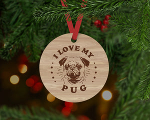 Pug Dog Ornament - Aston Blue