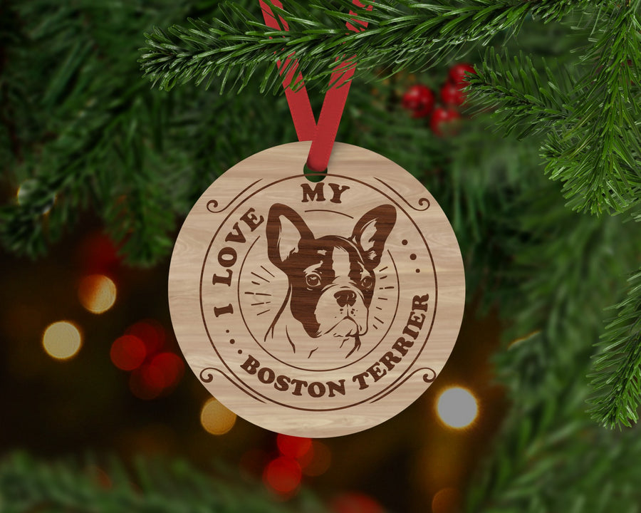 Boston Terrier Dog Ornament - Aston Blue