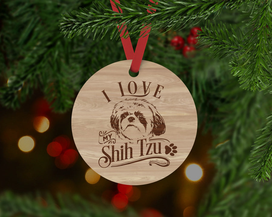 Shih Tzu Dog Ornament - Aston Blue