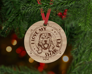 Shar Pei Dog Ornament - Aston Blue