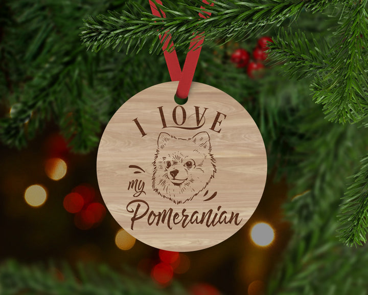Pomeranian Dog Ornament - Aston Blue