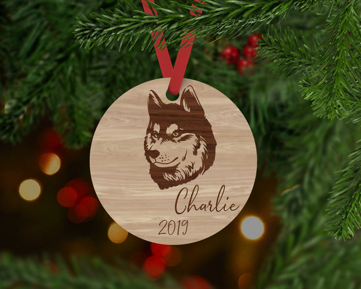 Husky Dog Ornament - Aston Blue