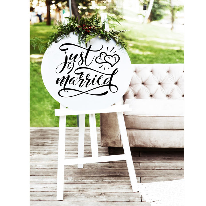 Just Married Wedding Sign - Aston Blue