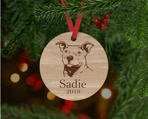 Pitbull Dog Ornament - Aston Blue