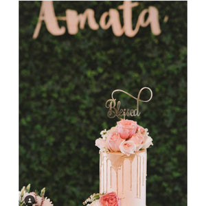 Blessed Acrylic Cake Topper - Aston Blue