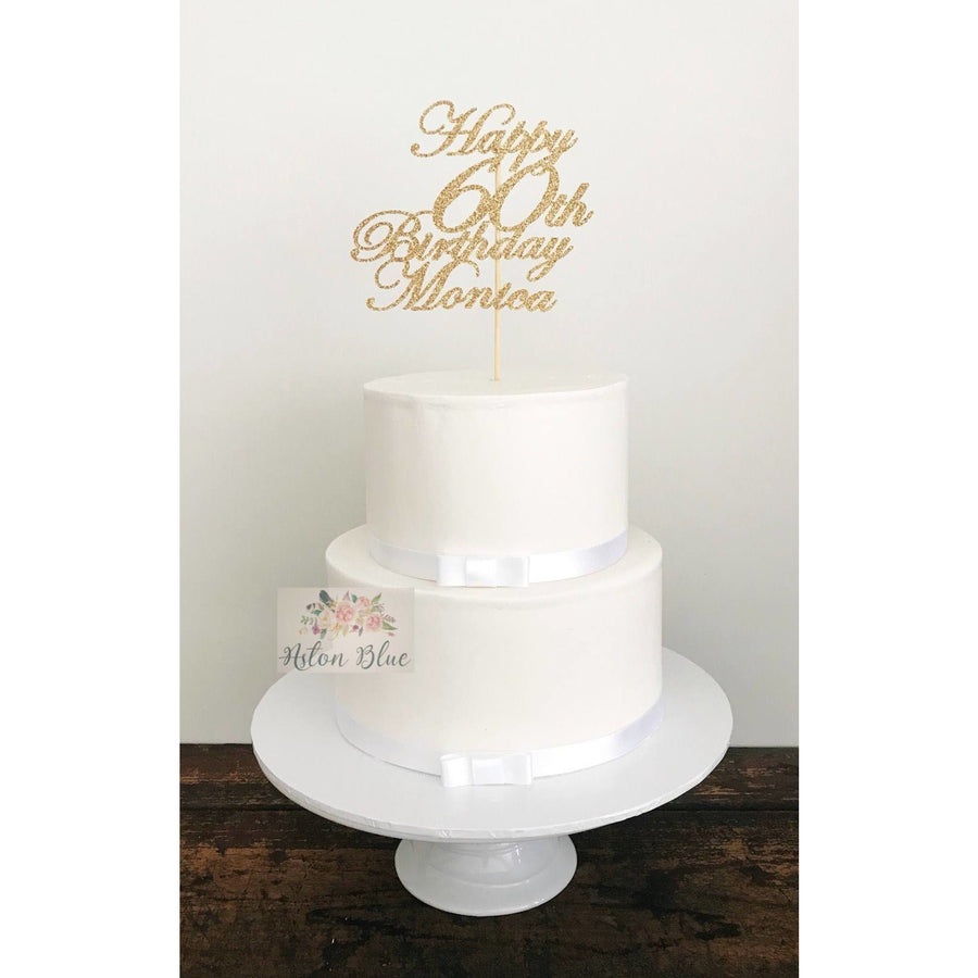 Personalised Sixty Acrylic Cake Topper - Aston Blue