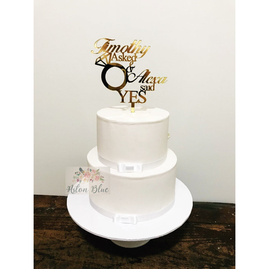 She Said Yes Cake Topper - Aston Blue