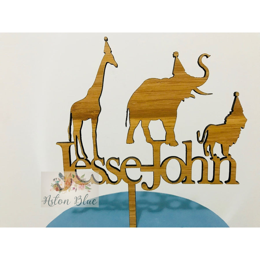 Custom Safari Animal Acrylic Cake Topper - Aston Blue