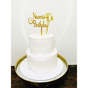 Forty Acrylic Cake Topper - Aston Blue