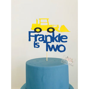 Personalised Bulldozer Acrylic Cake Topper - Aston Blue