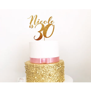 Thirty Acrylic Cake Topper - Aston Blue