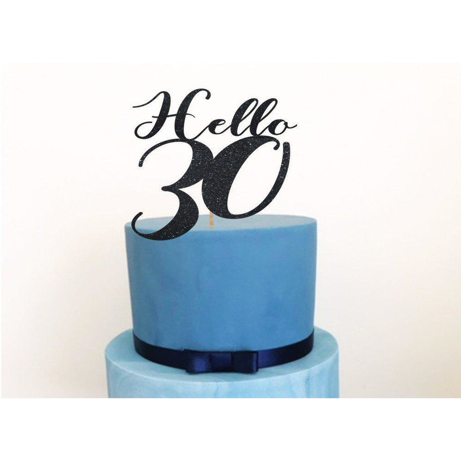 Hello Thirty Acrylic Cake Topper - Aston Blue