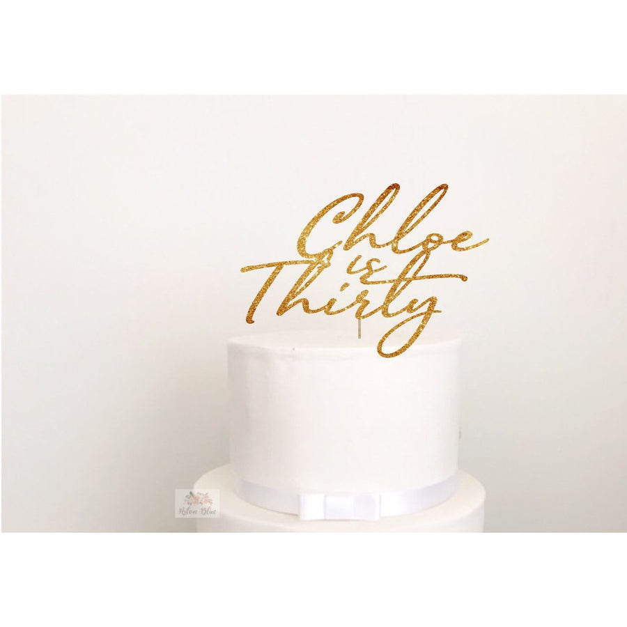 Custom Thirty Acrylic Cake Topper - Aston Blue